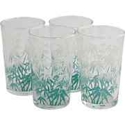 Set of 4 Kitschy Libbey Glass 1950's Bamboo Design Juice Tumblers