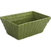 Vintage Brush McCoy Basket Weave Planter Pale Green Glaze