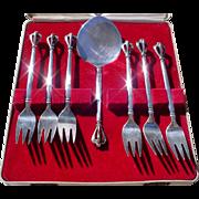 Vintage W & S. Sorensen Set Of Six Solid Sterling Silver Desert Forks w/ Serving Piece, DANISH