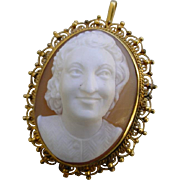 Antique High Relief Shell Cameo in 18K Gold Frame
