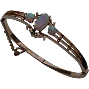 Beautiful Hand Constructed 14K Pink Gold Bangle Bracelet w/ Opals