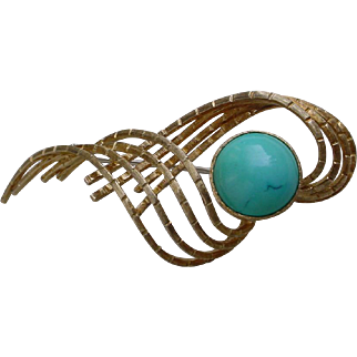Vintage 18K Gold Hand Constructed Brooch By Ruth Satski Set w/ 10 Carat Turquoise