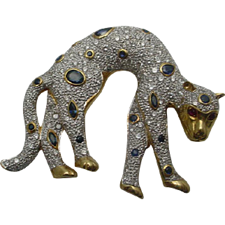 Panther Brooch 18K Gold, Diamonds, Sapphires Big and Showy Piece
