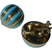 Beautiful 18K Gold Italian Clip Earrings w/ Vitreous Sky Blue Enamel, Hand Constructed.
