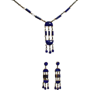 Necklace And Earrings In 18K Gold w/ Lapis Lazuli
