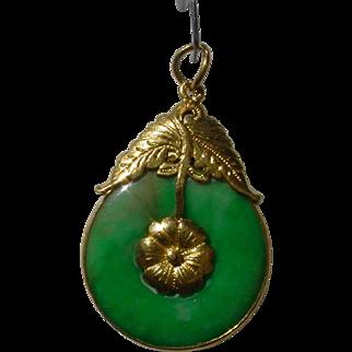Green Jadeite A-Grade 10 Carat, 22K Gold Pendant.