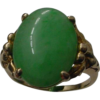 Medium Green A-Grade Jadeite 9 Carat 14K Gold Ring