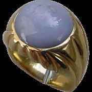 21 Carat Bluish Gray Star Sapphire In 18K Heavy 18K Gold Ring