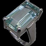 14K White Gold, 10 Carat Aquamarine Emerald Cut.