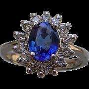 Ladies Platinum Ring w/ 1.12 Carat Blue Sapphire & Diamonds