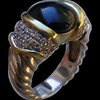 David Yurman 18K Gold And Silver Ring Set w/ Onyx & Diamonds