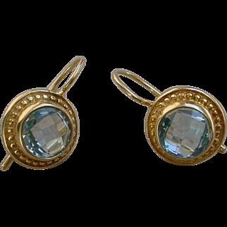 Aquamarine 18K Gold Earrings.