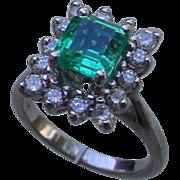 Ladies Emerald, Diamonds White 14K Gold Ring