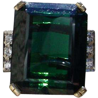 Ladies Custom Made 14K Gold Ring Set w/ 26.8 Carat Green Tourmaline & 6 Diamonds