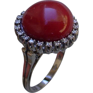 Vintage 1930s Red Coral Italy Made 18K White Gold Ring w/Diamonds