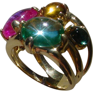Beautiful Italian Made 18K Gold Ring w/ 5 Colorful Cabochon Stones.