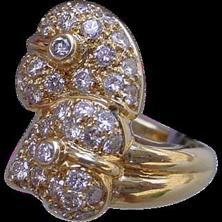Beautiful 18K Gold Double Heart Ring, Pave` Set w/ 44 Diamonds