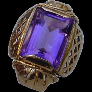 Vintage 18K Gold Italian Hand Constructed Ring w/ 7.3 Carat Amethyst