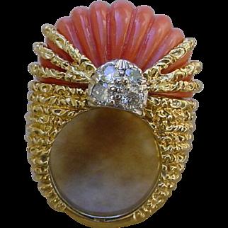 Gorgeous 34 Carat Red Coral Set In Ladies 18K Gold Ring w/ 8 Diamonds.
