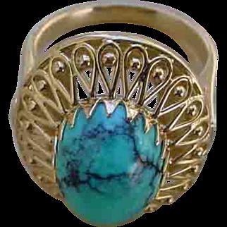 Beautiful Ladies 14K Gold Ring Set w/ 8 Carat Cabochon Blue Turquoise