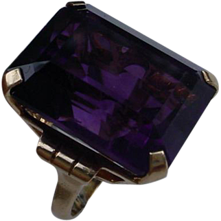Vintage Retro 10K Gold Ring Set With 39 Carat Amethyst, Emerald Cut