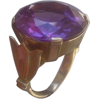 Hand Constructed 14K Gold Ring Set With Synthetic Color Change Sapphire