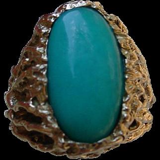 Gents 14K Gold Ring Set w/ Blue Chrysocolla Stone