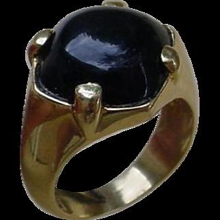 Interesting 18K Gold Ring Set w/ Cabochon Cut Black Onyx