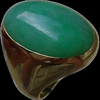 Vintage Gents 18K Gold Ring Set w/ 24 Carat Green Jadeite.