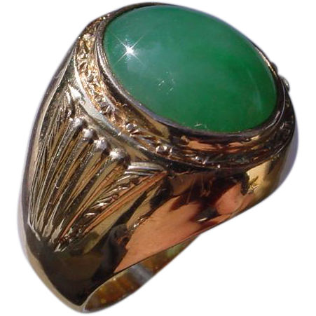 Vintage 14k Rose Gold Green Jadeite Ring From Afinewatch
