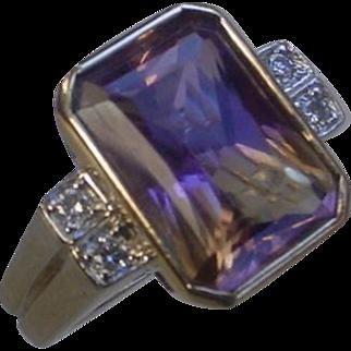 Beautiful 7.3 Carat Ametrine 4 Diamonds Heavy Ring 12 grams.