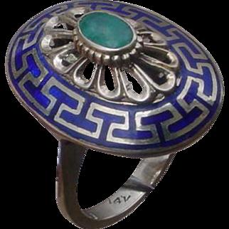 Elegant 14K Gold Ladies Ring w/Emerald. Greek Key Motif.