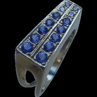 14K Gold Ring Set w/ 10 Blue Sapphires & 4 Diamonds