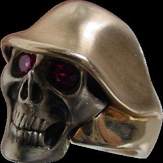 Skull Ring, 14K Yellow & White Gold, Rubies. Uncommon.