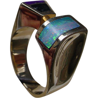 14K Gold Ring Inlaid w/ Opal, Turquoise.