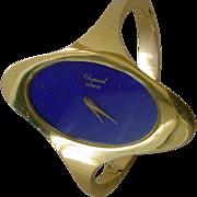 Vintage 18K Gold Chopard Bangle Bracelet Watch, Lapis Lazuli Dial