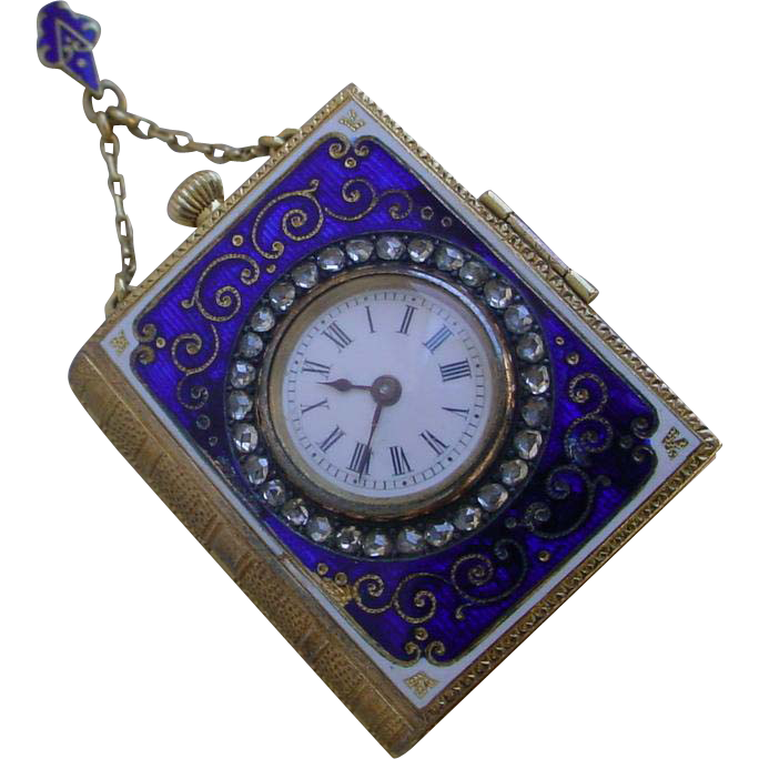 Rare Golay Fils Amp Stahl 18k Gold Book Form Pendant Watch