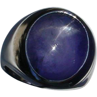 25.76 Ct. Star Sapphire 14K Gold Ring. Violetish Blue With Gemological Appraisal !!
