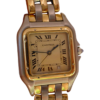 Cartier Panther Mid Size. 3 Rows of 18K Gold Links.