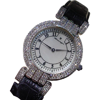 Big, Diamond Pave` Set, Gents Watch In 18K White Gold, 66 Grams.