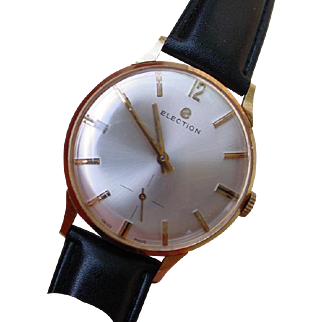 Vintage Large Gents Election 18K Rose Gold Watch - Time Capsule Find from 1950s !!!