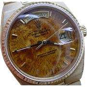 Rolex Day Date Oysterquartz 19018 18K Gold w/ Burlwood Dial, Box & Papers.