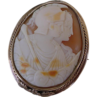 Beautiful Shell Cameo Framed In 12K Gold Hand Made Brooch.