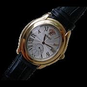 "BIG Versace ""Bond Street"" 18K Gold Watch, Alligator Strap, 18K Gold Buckle, Box"