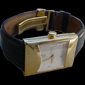 Fred Paris 18K Gold Gents Rectangular Watch, Alligator Strap, Deployant Buckle