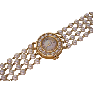 Beautiful Lucien Piccard Ladies 14K Gold Watch w/ 104 Pearl Bracelet, Pearl Bezel
