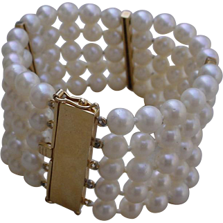 Gorgeous 5 Strand 1.38 Inches Wide Pearl Bracelet. 14K Gold Clasp & Keepers.