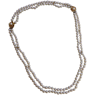 Beautiful Pearls, Double Strand Necklace And Bracelet, 52 Inches Total Pearls Length, AA 6.5-6.8 mm