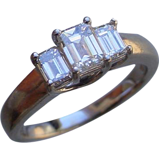 Ladies Platinum Ring Set w/ 3 Emerald Cut High Quality Diamonds, Half Carat Center Diamond.