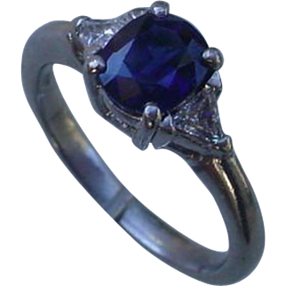 Ladies Platinum Ring Set w/ 2 Carat Sapphire and 2 Trillion Diamonds.